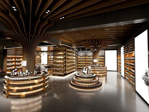3d render wine alcohol shop