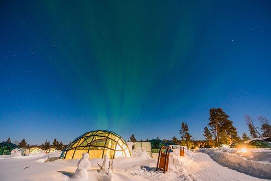 Northern lignt in Finland over Igloo house