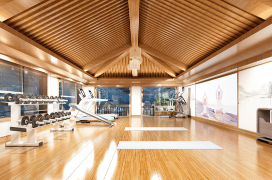 3d render fitness center wooden roof floor