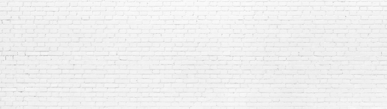 White brick Wall panoramic background