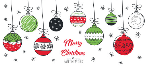 Merry Christmas greeting card red and green with modern baubles. Vector illustration.