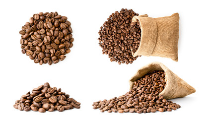 Set of coffee beans pile and in a bag, different look on a white background. Isolated