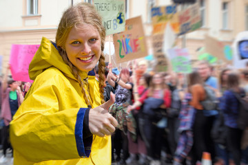 Young woman demonstrating against Climate Change
