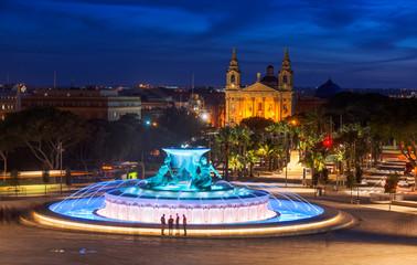 Triton Fountain in the evening. Valletta, Malta. 6 March, 2018