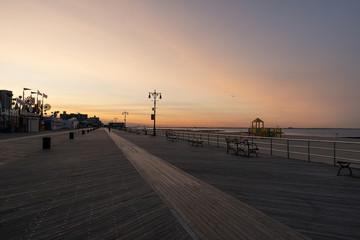 Sunrise at boardwalk on Coney Island New York City