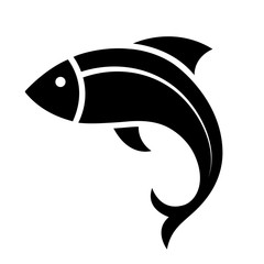 Fish icon black silhouette. Fisheries logo symbol