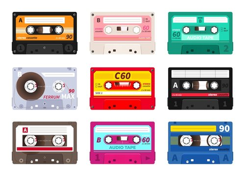 Retro cassettes. Vintage 1980s music tape, dj rave party mix, realistic stereo record set. Vector old school music cassette for media player