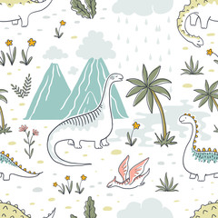 Doodle dinosaur pattern. Seamless textile dragon print, trendy childish fabric background, cartoon dinosaurs. Vector graphic background sketch