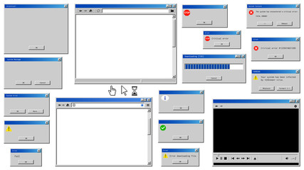 Old user interface windows. Retro browser and error message popup.