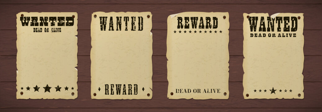 Wanted dead or alive poster with grunge textured typography and ripped vintage gray paper nailed to a wooden background.
