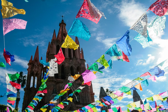 San Miguel de Allende, Mexico. Main plaza and cathedral decorated for Day of the Dead.