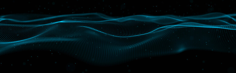 Musical wave of particles. Sound structural connections. Abstract background with a wave of...