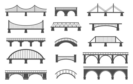 Set of different bridges. Isolated on white background. Black and white. Vector illustration.