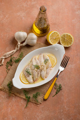 red mullet fillet with lemon sauce and garlic