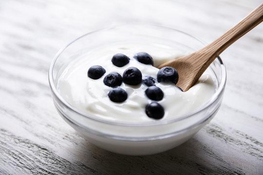 Blueberries And Yogurt In Bowl