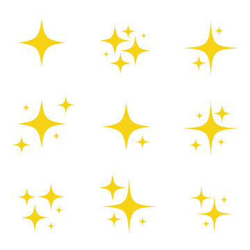 Set of original vector stars sparkle firework, decoration twinkle, shiny flash icon. Vector Illustration