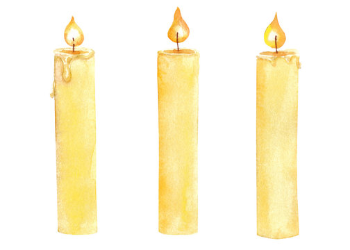 Watercolor hand drawn set with yellow candles with flame isolated on white background