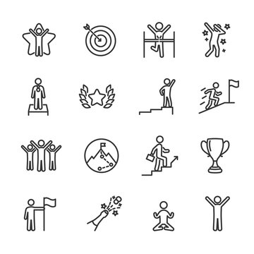 Vector set of success line icons.