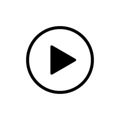 Play icon isolated button or video player sign. Web media symbol. Multimedia interface.