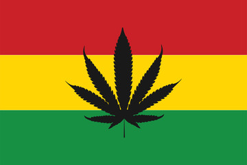 Rasta flag with sign of cannabis. Rastaman leaf decoration wallpaper.