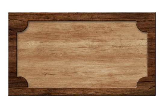 Wooden sign or picture frame made of dark natural wood