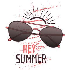 Vector sketch glasses in vintage style. Lettering: hey summer.
