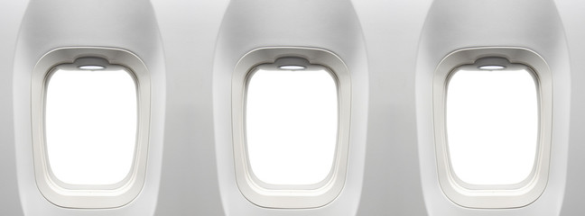 Airplane windows with clipping path in windows for replact you flight ad design placed on blank white airplane windows