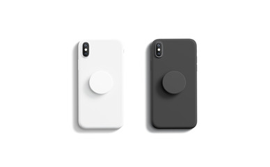 Blank black and white pop sockets attached on mobile phone mockups, isolated, top view, 3d rendering. Empty rubber popsocket holder on smartphone mock up. Clear round handle stick on cellphone. Fotobehang