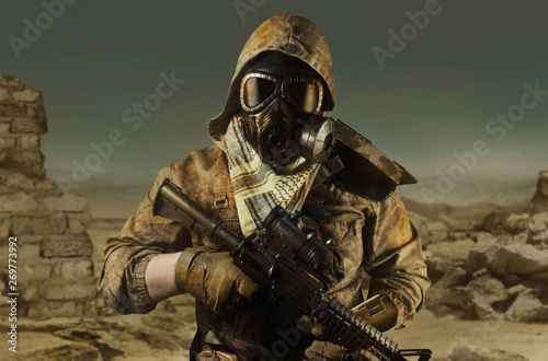 Desert post-apocalyptic soldier front view