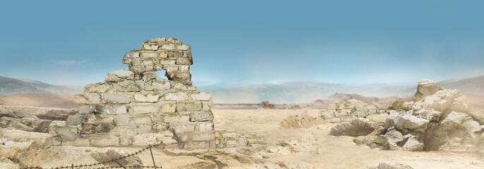 Obraz Landscape photo of a desert wasteland battlegrounds. - fototapety do salonu