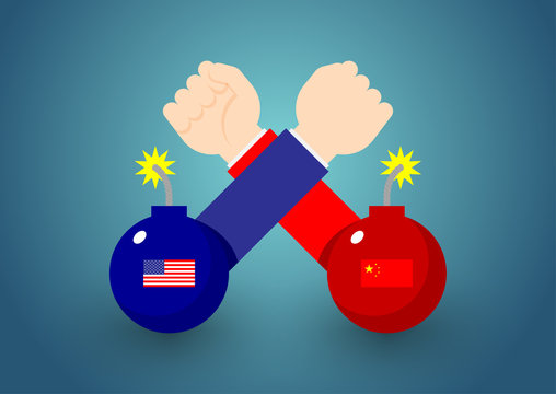 Arm wrestling Business Hand with bomb of America and China flag, Trade war and tax crisis concept design illustration isolated on blue gradients background with copy space, vector eps 10