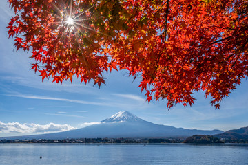 Deurstickers Rood paars Fuji mountain winter landscape with trees and lake