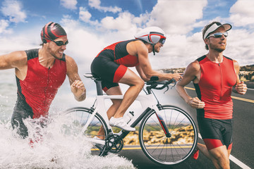 Triathlon swim bike run triathlete man training for ironman race concept. Three pictures composite of fitness athlete running, biking, and swimming in ocean. Professional cyclist, runner, swimmer. Wall mural
