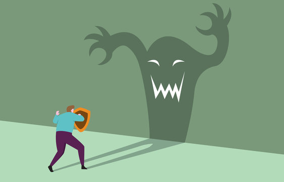 Courage Businessman with Shield Ready Confident Facing Monster Shadow Business Threat