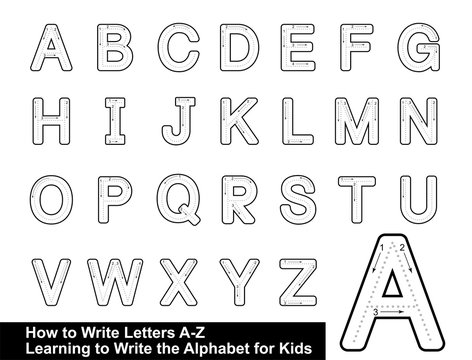 ALPHABET TRACING LETTERS  STEP BY STEP LETTER TRACING Write the letter Alphabet Writing lesson for children vector