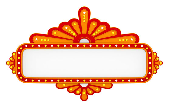 Blank Theater Sign Isolated