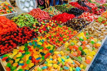 Assorted candy for sale in the Mahane Yehudah market in Jerusalem, Israel