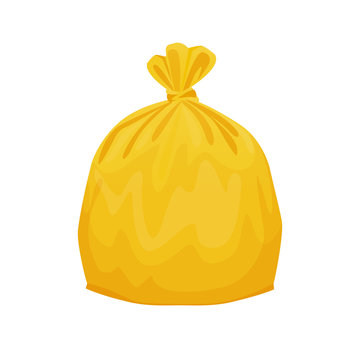 bag plastic waste yellow isolated on white background, yellow plastic bags for waste separation, plastic bag for garbage waste, clip art plastic bag for info graphic design, Illustration bin bags