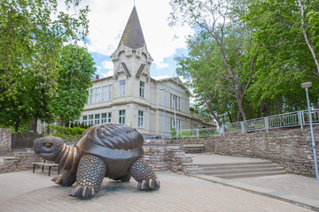 City Jurmala, Latvian Republic. Sculpture turtle with house. Jurmala tourism place. Travel photo. 2019. 25. May Wall mural