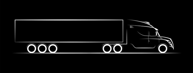 simple image of a truck on a dark background contour