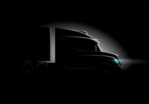 photorealistic truck in the dark in the light side view