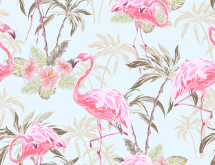 Exotic seamless pattern with flamingo, hibiscus flower, palm tree, palm leaves. Vector patch for wallpapers, fabric, surface textures, textile.
