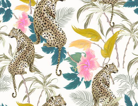 Tropical seamless pattern with exotic trees, leopard, hibiscus and plants on white background. Vector patch for wallpapers, fabric, surface textures, textile.