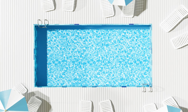 Top view Swimming pool with beach umbrella and chairs. Summer concept. 3d rendering