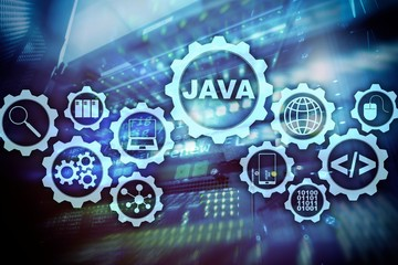 Java Programming concept. Virtual machine. On server room background. Wall mural