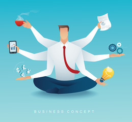 businessmen character multitasking hard work by six arms. concept of working hard vector illustration EPS10