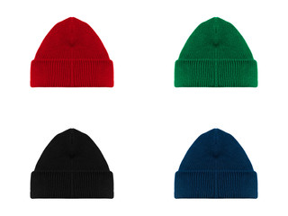 Set bundle pack blank pain beanie with red, green, black, blue color. set of beanie hat in four colors isolated on white background ready for your mockup logo design.