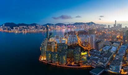 Wall Murals New York Top view of Hong Kong city