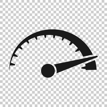 Speedometer level sign icon in transparent style. Accelerate vector illustration on isolated background. Motion tachometer business concept.