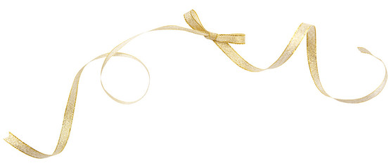 Golden ribbon curl isolated on white background. Golden ribbon bow and curl isolated on white background.